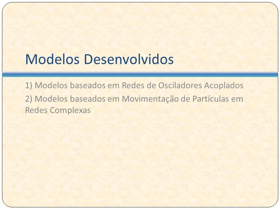 Modelos Desenvolvidos 1) Modelos baseados em Redes de Osciladores Acoplados 2) Modelos baseados em Movimentação de Partículas em Redes Complexas