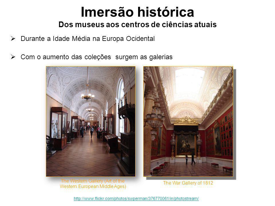 Imersão histórica Dos museus aos centros de ciências atuais  Durante a Idade Média na Europa Ocidental  Com o aumento das coleções surgem as galerias The Western Gallery (Art of the Western European Middle Ages) São Petersburgo, St.