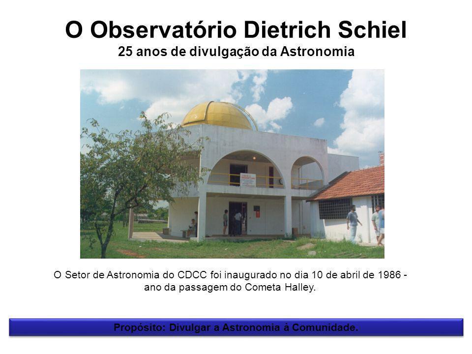 O Observatório Dietrich Schiel 25 anos de divulgação da Astronomia Propósito: Divulgar a Astronomia à Comunidade.