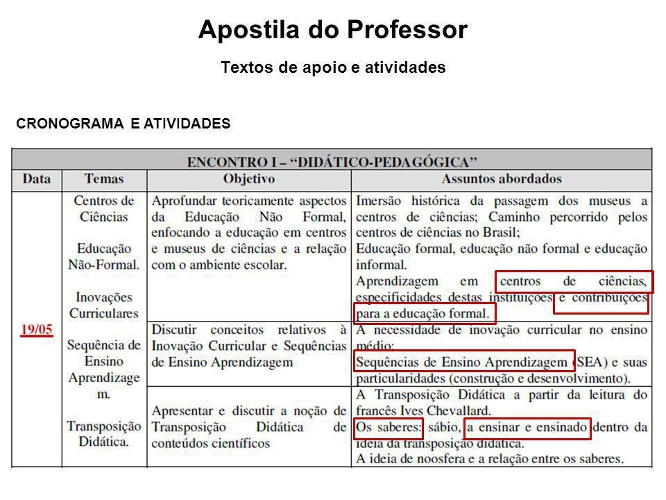 Apostila do Professor Textos de apoio e atividades CRONOGRAMA E ATIVIDADES