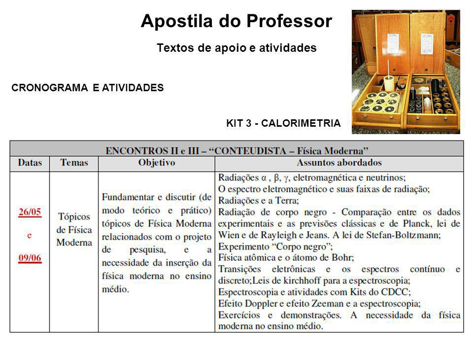 Apostila do Professor Textos de apoio e atividades CRONOGRAMA E ATIVIDADES KIT 6 - ÓTICA FÍSICA