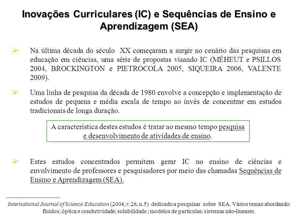 Inovações Curriculares (IC) e Sequências de Ensino e Aprendizagem (SEA)  Na última década do século XX começaram a surgir no cenário das pesquisas em educação em ciências, uma série de propostas visando IC (MÉHEUT e PSILLOS 2004, BROCKINGTON e PIETROCOLA 2005, SIQUEIRA 2006, VALENTE 2009).