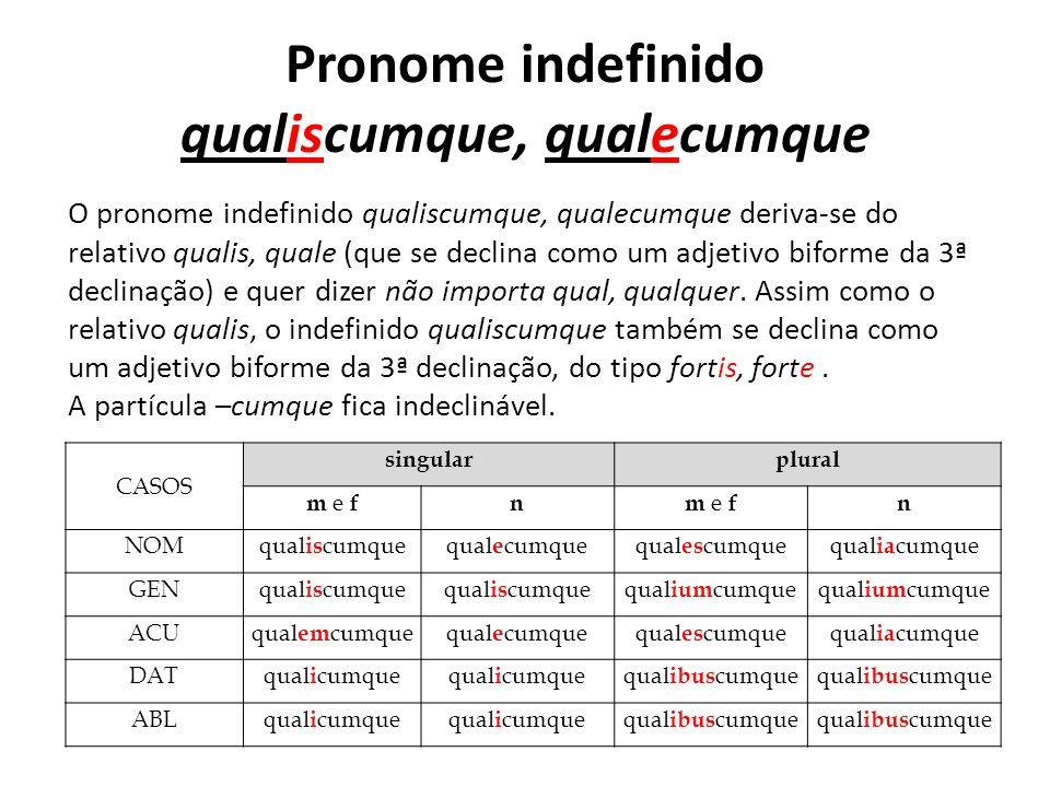 Pronome indefinido qualiscumque, qualecumque O pronome indefinido qualiscumque, qualecumque deriva-se do relativo qualis, quale (que se declina como u