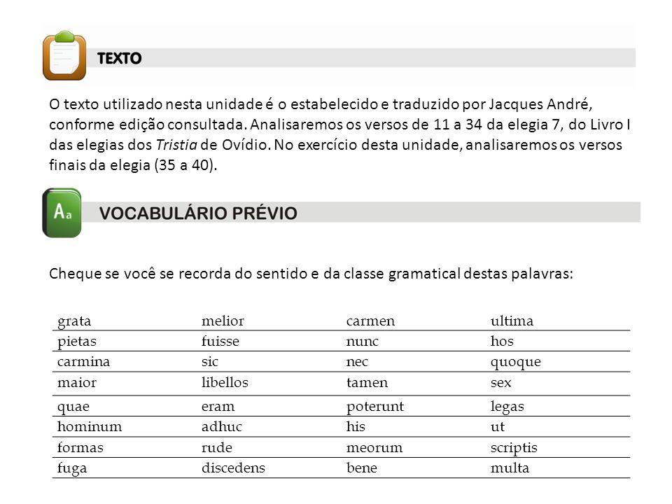 O texto utilizado nesta unidade é o estabelecido e traduzido por Jacques André, conforme edição consultada. Analisaremos os versos de 11 a 34 da elegi