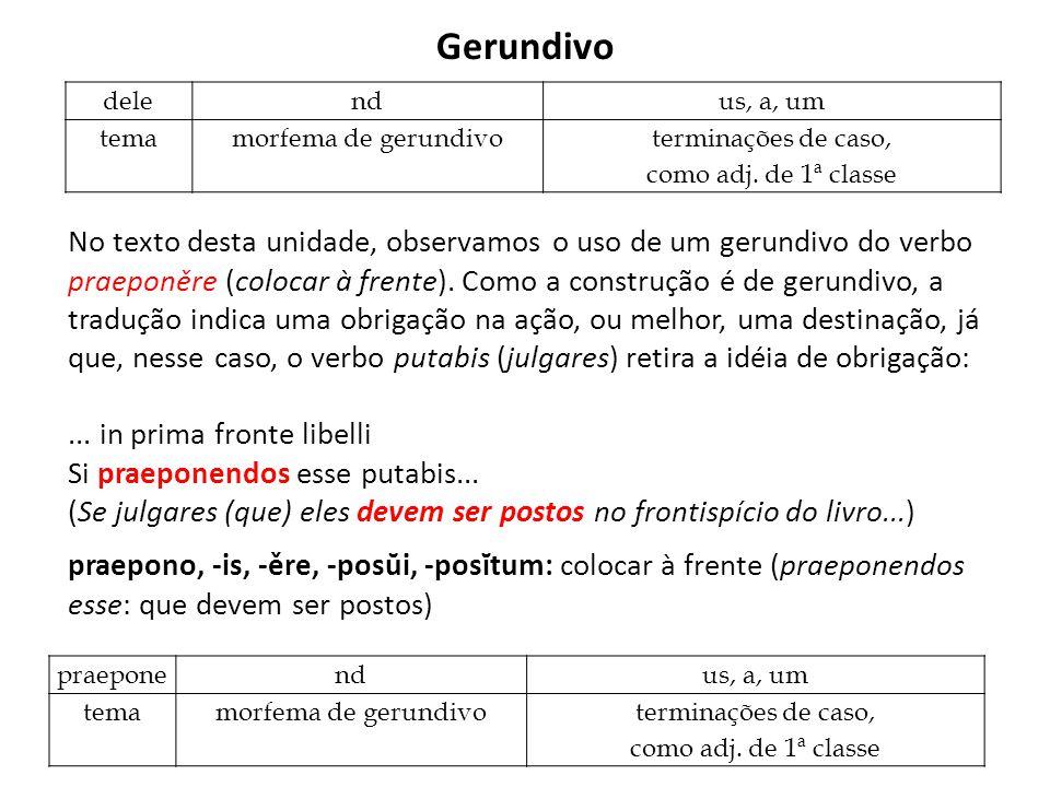 Gerundivo No texto desta unidade, observamos o uso de um gerundivo do verbo praeponěre (colocar à frente). Como a construção é de gerundivo, a traduçã