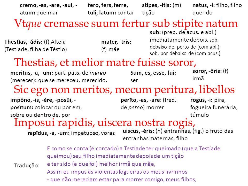 Vel quod eram Musas, ut crimina nostra, perosus, Tradução: Vel quod adhuc crescens et rude carmen erat.