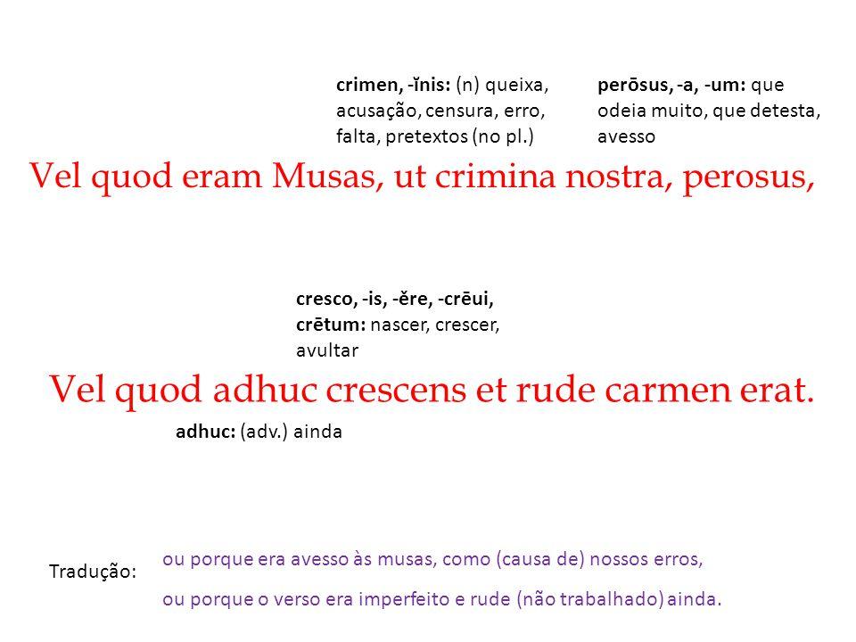 Vel quod eram Musas, ut crimina nostra, perosus, Tradução: Vel quod adhuc crescens et rude carmen erat. ou porque era avesso às musas, como (causa de)