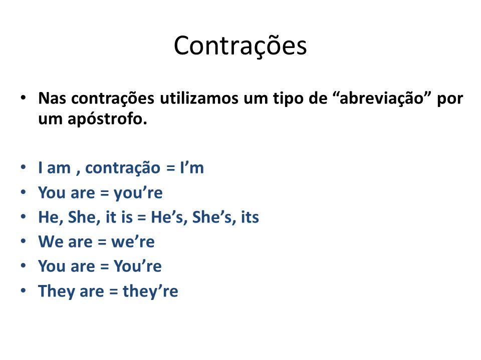 """Contrações Nas contrações utilizamos um tipo de """"abreviação"""" por um apóstrofo. I am, contração = I'm You are = you're He, She, it is = He's, She's, it"""