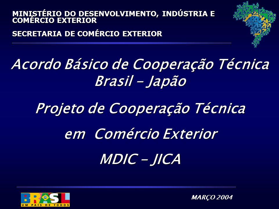 MARÇO 2004 MINISTÉRIO DO DESENVOLVIMENTO, INDÚSTRIA E COMÉRCIO EXTERIOR SECRETARIA DE COMÉRCIO EXTERIOR Acordo Básico de Cooperação Técnica Brasil - Japão Projeto de Cooperação Técnica em Comércio Exterior MDIC - JICA