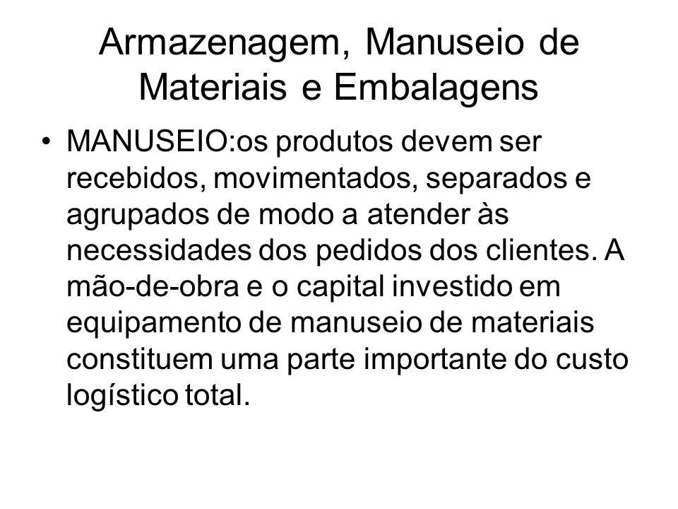 Armazenagem, Manuseio de Materiais e Embalagens MANUSEIO:os produtos devem ser recebidos, movimentados, separados e agrupados de modo a atender às nec