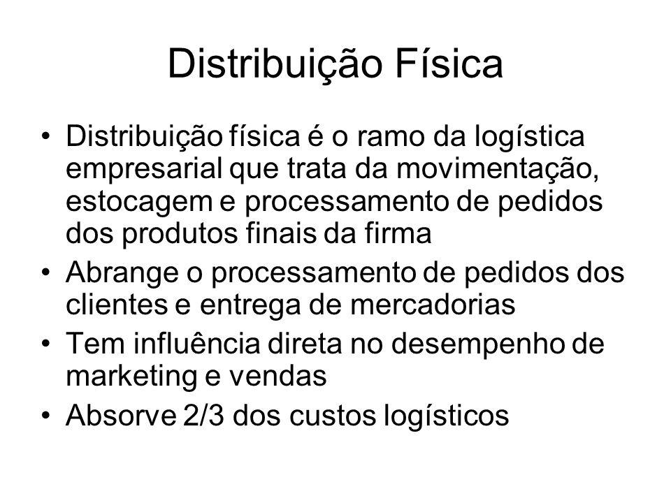 Distribuição Física Distribuição física é o ramo da logística empresarial que trata da movimentação, estocagem e processamento de pedidos dos produtos