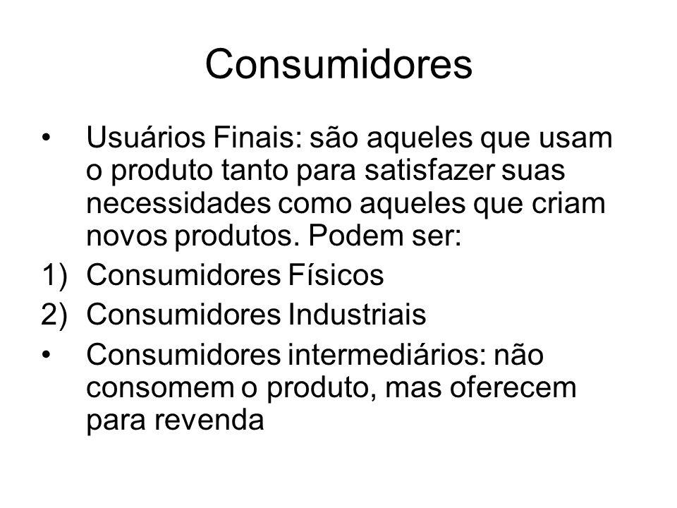 Consumidores Usuários Finais: são aqueles que usam o produto tanto para satisfazer suas necessidades como aqueles que criam novos produtos. Podem ser: