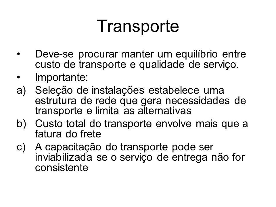 Transporte Deve-se procurar manter um equilíbrio entre custo de transporte e qualidade de serviço. Importante: a)Seleção de instalações estabelece uma