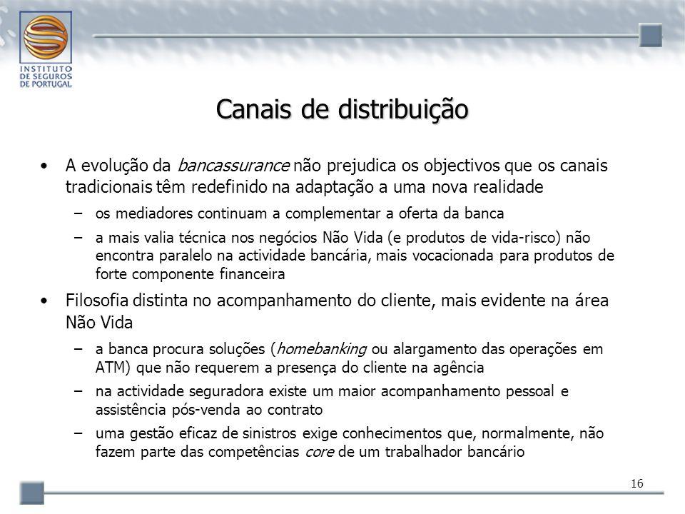 16 Canais de distribuição A evolução da bancassurance não prejudica os objectivos que os canais tradicionais têm redefinido na adaptação a uma nova re