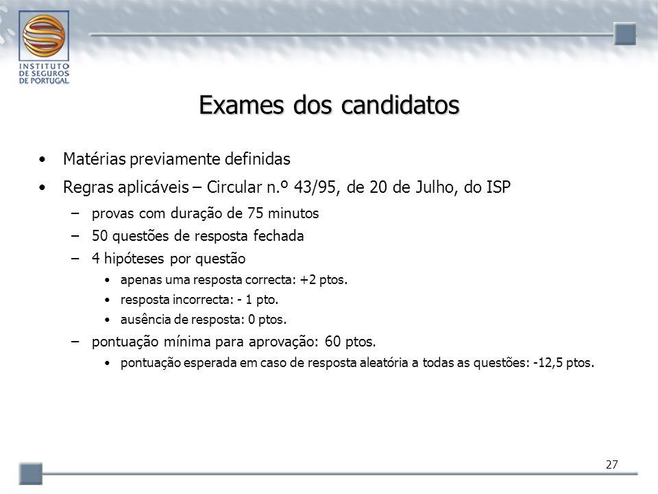27 Exames dos candidatos Matérias previamente definidas Regras aplicáveis – Circular n.º 43/95, de 20 de Julho, do ISP –provas com duração de 75 minut
