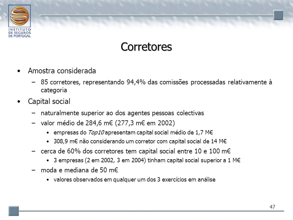 47 Corretores Amostra considerada –85 corretores, representando 94,4% das comissões processadas relativamente à categoria Capital social –naturalmente