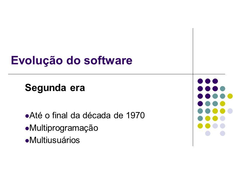 Evolução do software Segunda era Até o final da década de 1970 Multiprogramação Multiusuários