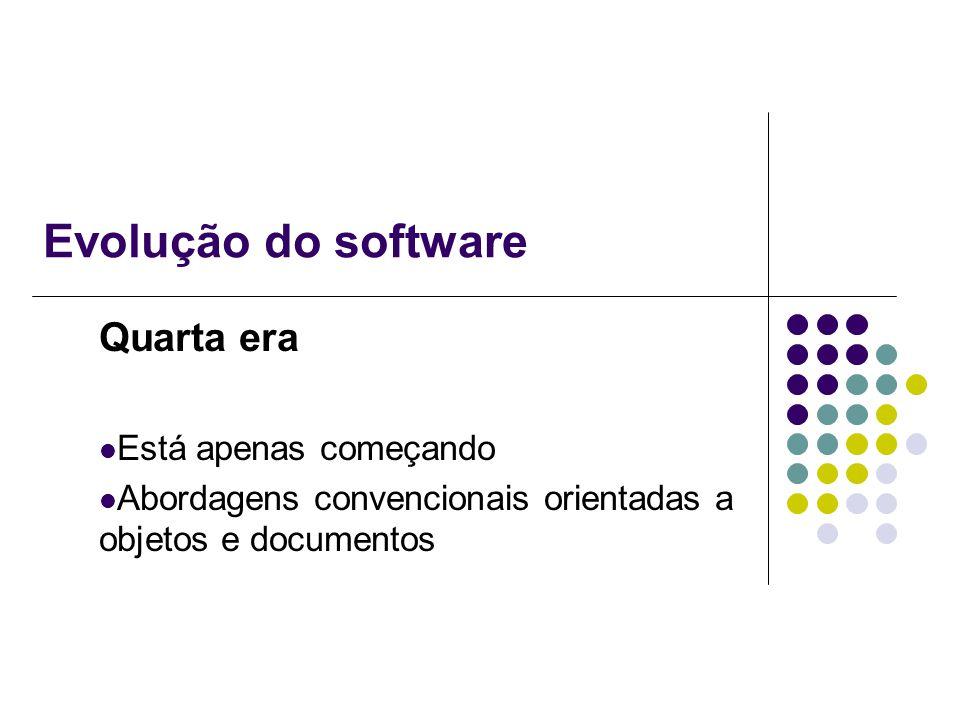 Evolução do software Quarta era Está apenas começando Abordagens convencionais orientadas a objetos e documentos