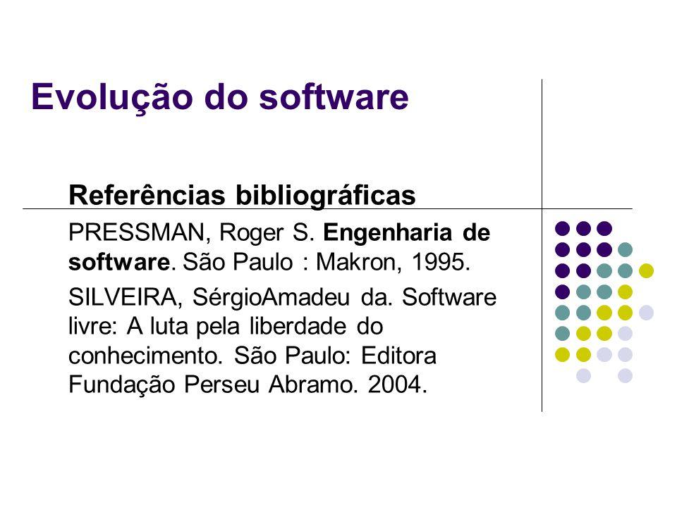 Evolução do software Referências bibliográficas PRESSMAN, Roger S. Engenharia de software. São Paulo : Makron, 1995. SILVEIRA, SérgioAmadeu da. Softwa