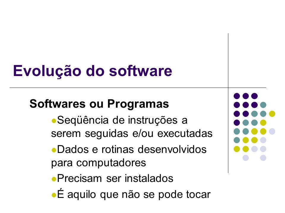 Evolução do software Softwares ou Programas Seqüência de instruções a serem seguidas e/ou executadas Dados e rotinas desenvolvidos para computadores P