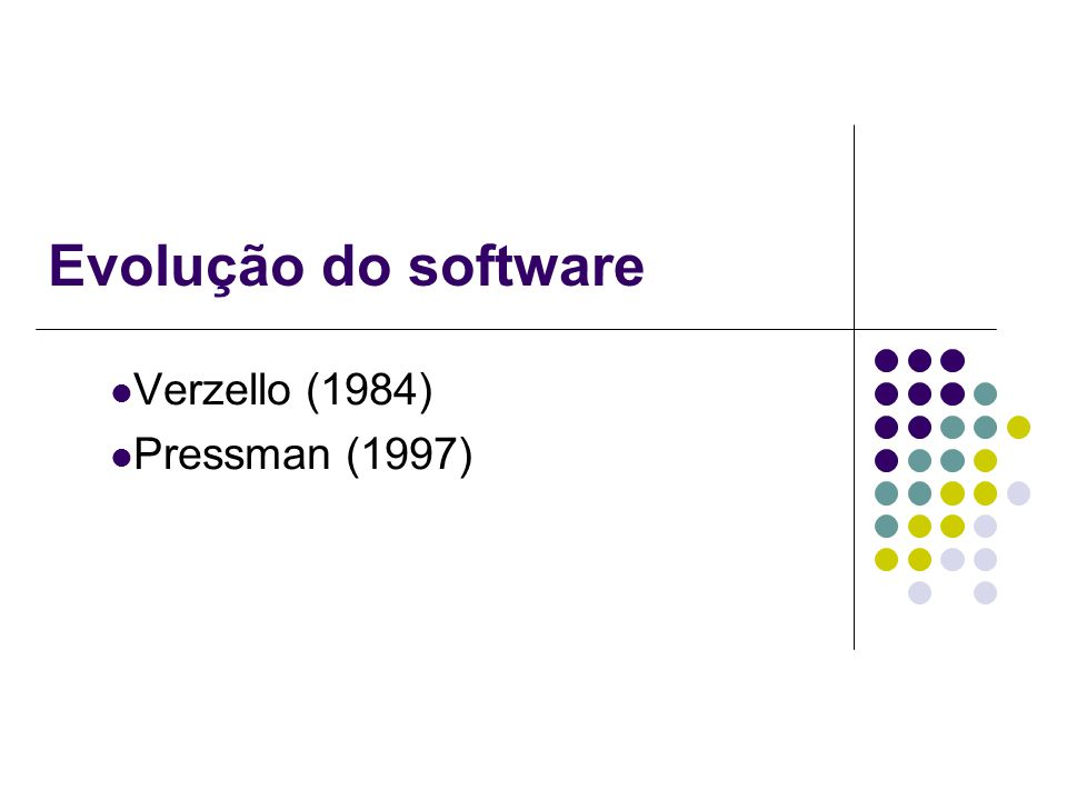 Evolução do software Verzello (1984) Pressman (1997)