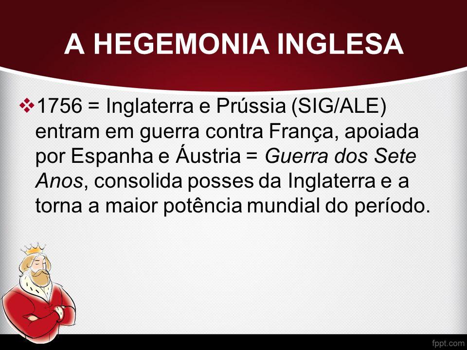 A HEGEMONIA INGLESA  1756 = Inglaterra e Prússia (SIG/ALE) entram em guerra contra França, apoiada por Espanha e Áustria = Guerra dos Sete Anos, consolida posses da Inglaterra e a torna a maior potência mundial do período.