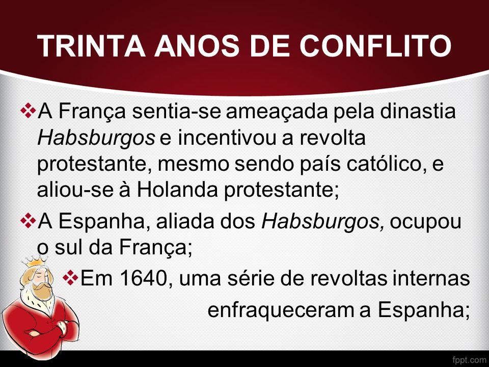 TRINTA ANOS DE CONFLITO  A França sentia-se ameaçada pela dinastia Habsburgos e incentivou a revolta protestante, mesmo sendo país católico, e aliou-se à Holanda protestante;  A Espanha, aliada dos Habsburgos, ocupou o sul da França;  Em 1640, uma série de revoltas internas enfraqueceram a Espanha;