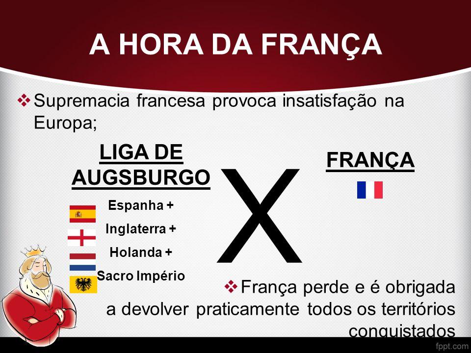 A HORA DA FRANÇA  Supremacia francesa provoca insatisfação na Europa;  França perde e é obrigada a devolver praticamente todos os territórios conquistados LIGA DE AUGSBURGO Espanha + Inglaterra + Holanda + Sacro Império X FRANÇA