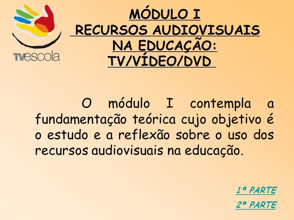 O módulo I contempla a fundamentação teórica cujo objetivo é o estudo e a reflexão sobre o uso dos recursos audiovisuais na educação. MÓDULO I RECURSO