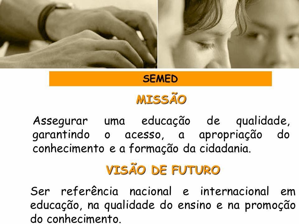 MISSÃO Assegurar uma educação de qualidade, garantindo o acesso, a apropriação do conhecimento e a formação da cidadania. VISÃO DE FUTURO Ser referênc