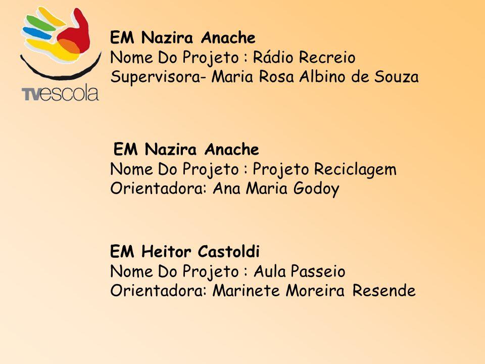 EM Nazira Anache Nome Do Projeto : Rádio Recreio Supervisora- Maria Rosa Albino de Souza EM Nazira Anache Nome Do Projeto : Projeto Reciclagem Orienta