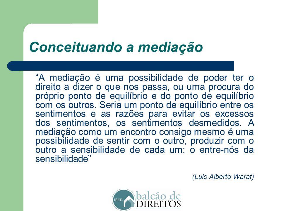 """Conceituando a mediação """"A mediação é um método alternativo de resolução de disputas no qual um terceiro neutro, imparcial e sem poder de decisão, int"""