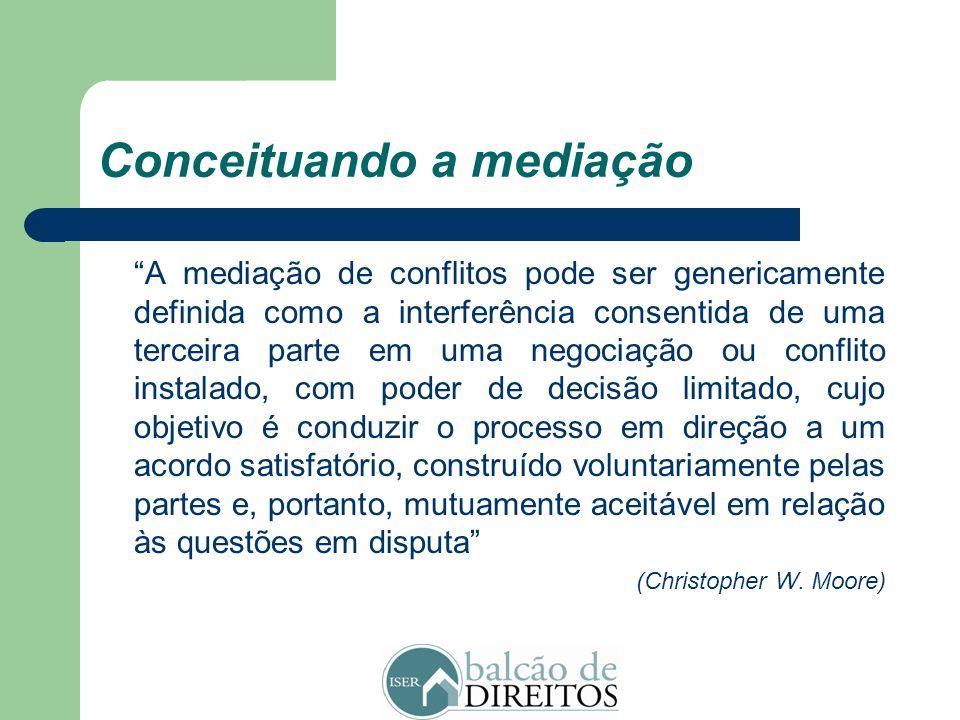 """Conceituando a mediação """"A mediação é uma possibilidade de poder ter o direito a dizer o que nos passa, ou uma procura do próprio ponto de equilíbrio"""