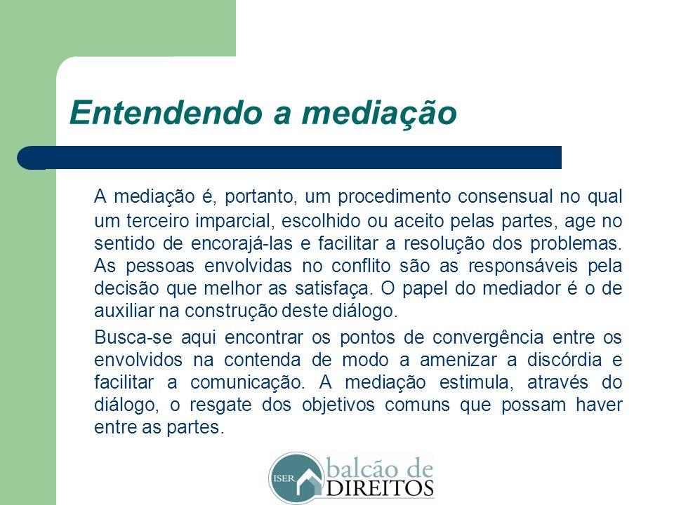 """Conceituando a mediação """"A mediação de conflitos pode ser genericamente definida como a interferência consentida de uma terceira parte em uma negociaç"""