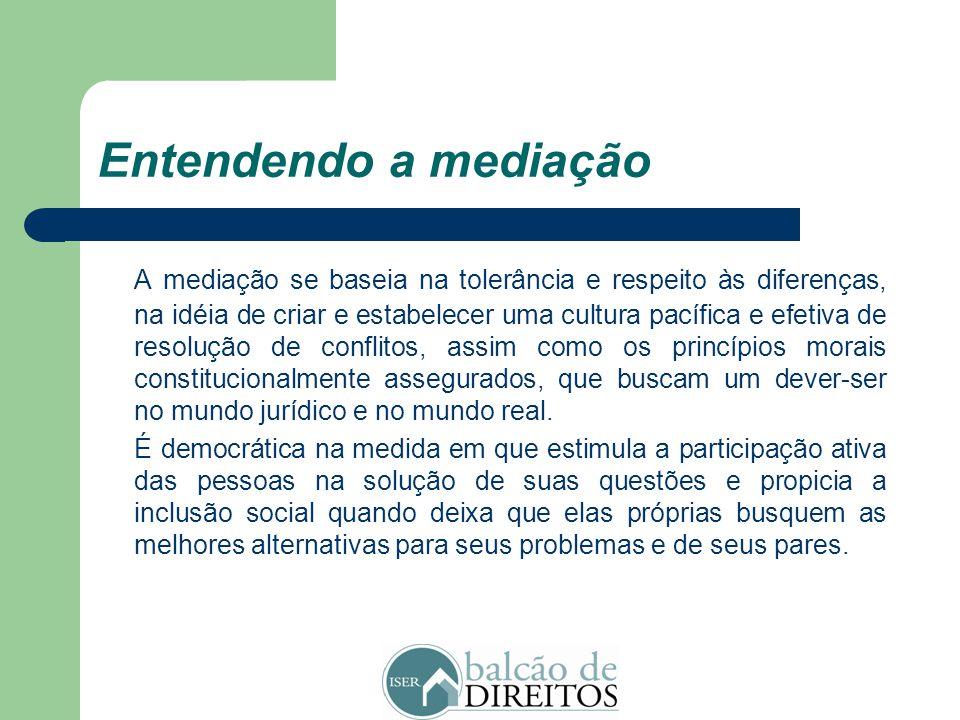 Entendendo a mediação A prática da mediação, por incentivar o diálogo entre os indivíduos, estimula as pessoas a debaterem não apenas os seus conflito