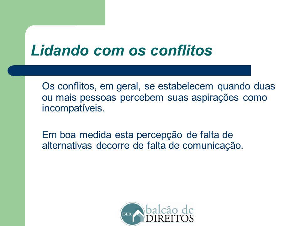 Lidando com os conflitos Assim: Os conflitos se repetem, criando uma pauta de interação. Eles são conduzidos pelas partes a partir das relações que se