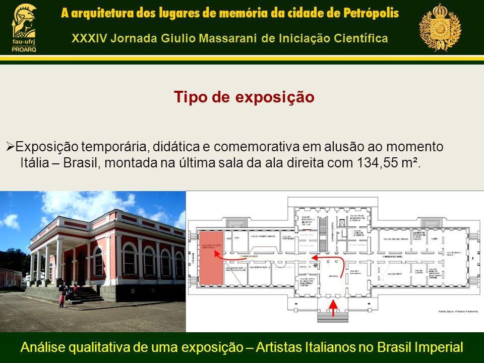 Tipo de exposição  Exposição temporária, didática e comemorativa em alusão ao momento Itália – Brasil, montada na última sala da ala direita com 134,