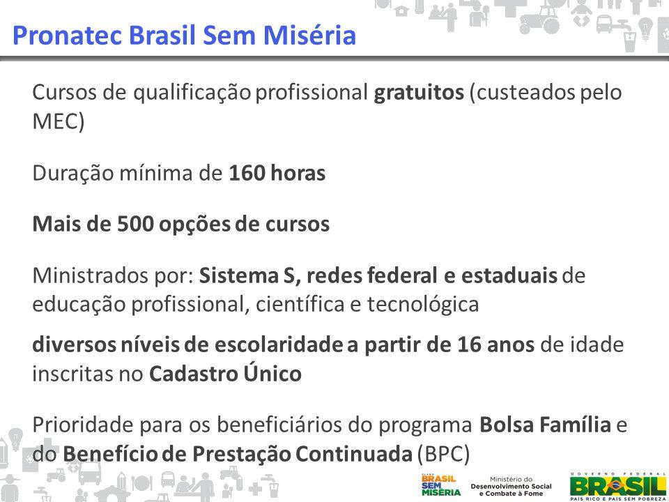 Pronatec Brasil Sem Miséria Cursos de qualificação profissional gratuitos (custeados pelo MEC) Duração mínima de 160 horas Mais de 500 opções de cursos Ministrados por: Sistema S, redes federal e estaduais de educação profissional, científica e tecnológica diversos níveis de escolaridade a partir de 16 anos de idade inscritas no Cadastro Único Prioridade para os beneficiários do programa Bolsa Família e do Benefício de Prestação Continuada (BPC)
