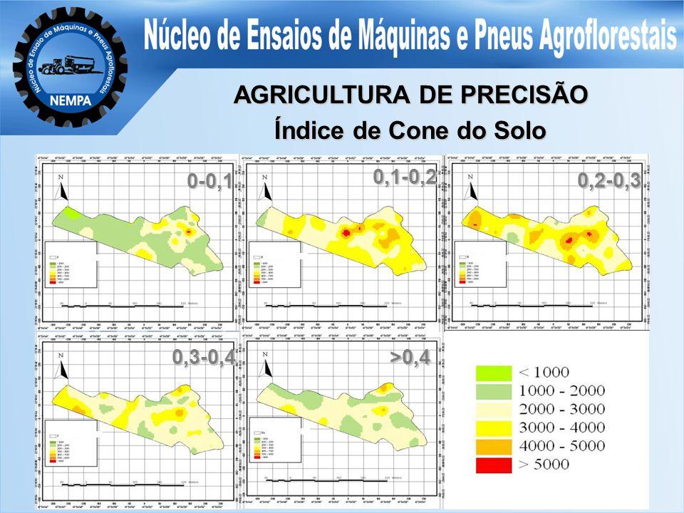AGRICULTURA DE PRECISÃO Índice de Cone do Solo 0,3-0,4>0,4 0,1-0,2 0,2-0,3 0-0,1