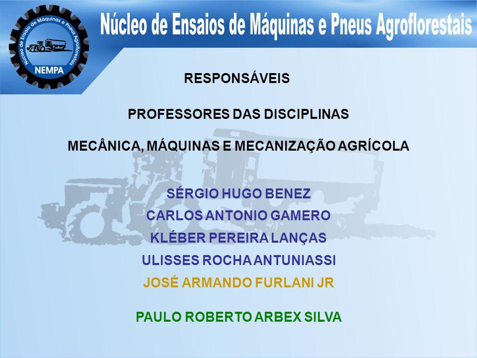 PROFESSORES DAS DISCIPLINAS MECÂNICA, MÁQUINAS E MECANIZAÇÃO AGRÍCOLA SÉRGIO HUGO BENEZ CARLOS ANTONIO GAMERO KLÉBER PEREIRA LANÇAS ULISSES ROCHA ANTUNIASSI JOSÉ ARMANDO FURLANI JR PAULO ROBERTO ARBEX SILVA RESPONSÁVEIS