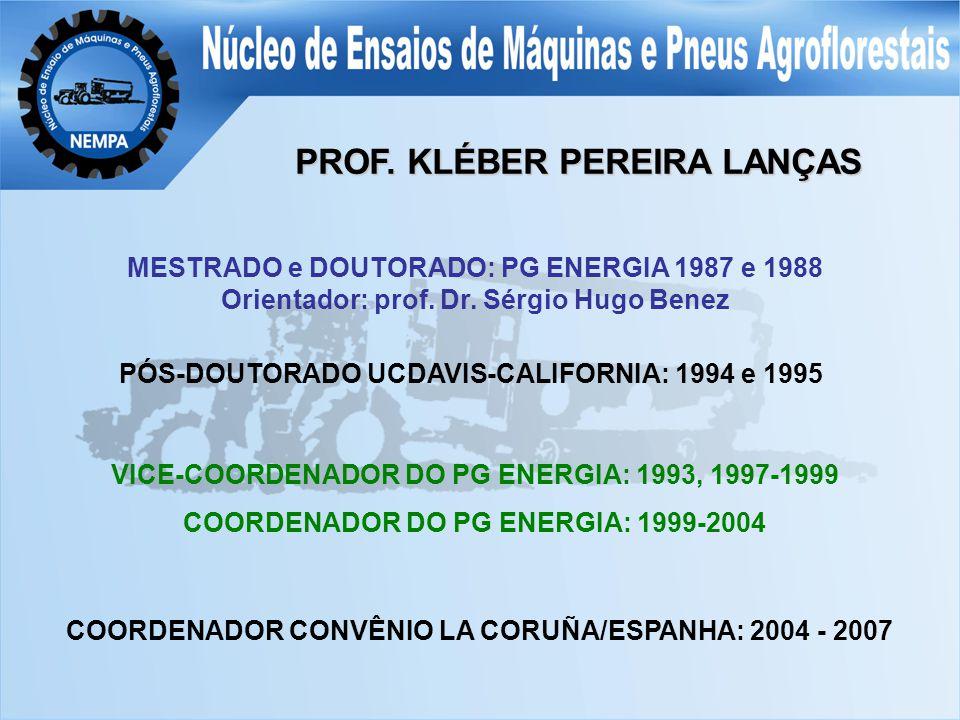 PROF. KLÉBER PEREIRA LANÇAS MESTRADO e DOUTORADO: PG ENERGIA 1987 e 1988 Orientador: prof.