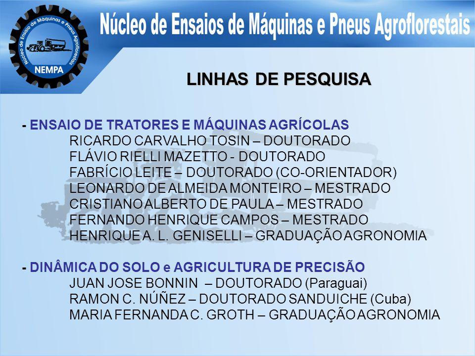 - ENSAIO DE TRATORES E MÁQUINAS AGRÍCOLAS RICARDO CARVALHO TOSIN – DOUTORADO FLÁVIO RIELLI MAZETTO - DOUTORADO FABRÍCIO LEITE – DOUTORADO (CO-ORIENTADOR) LEONARDO DE ALMEIDA MONTEIRO – MESTRADO CRISTIANO ALBERTO DE PAULA – MESTRADO FERNANDO HENRIQUE CAMPOS – MESTRADO HENRIQUE A.