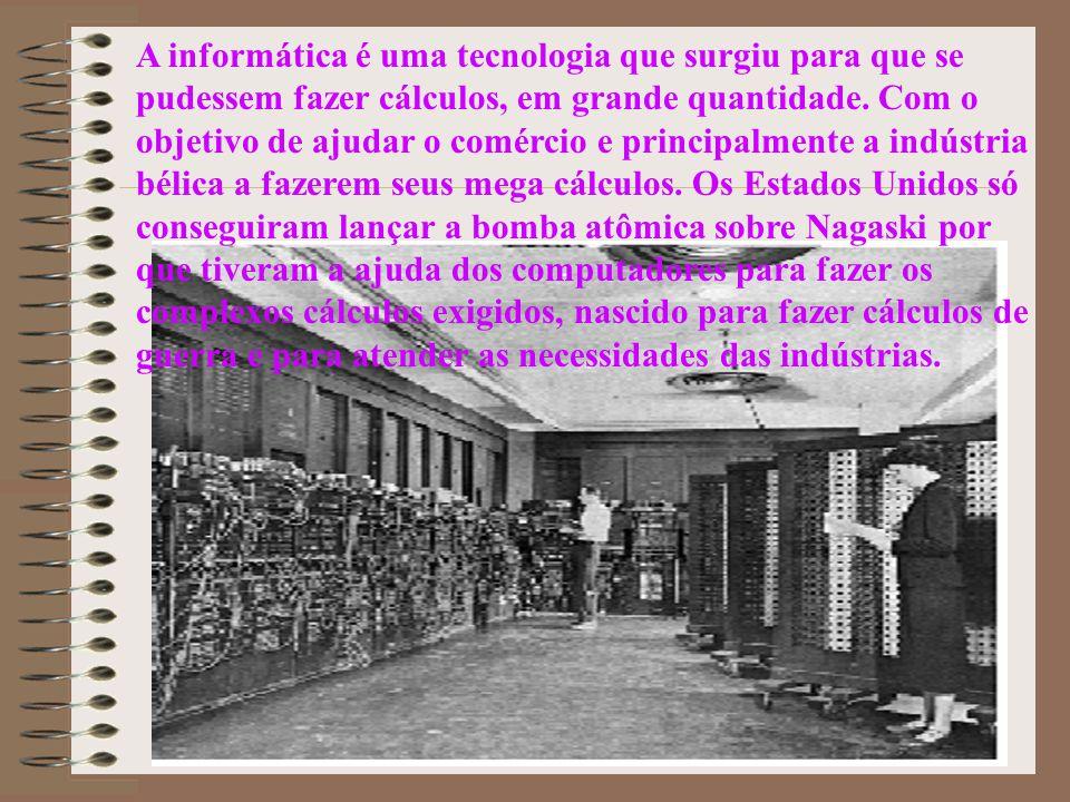 A informática é uma tecnologia que surgiu para que se pudessem fazer cálculos, em grande quantidade. Com o objetivo de ajudar o comércio e principalme