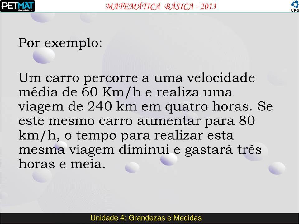 Por exemplo: Um carro percorre a uma velocidade média de 60 Km/h e realiza uma viagem de 240 km em quatro horas.