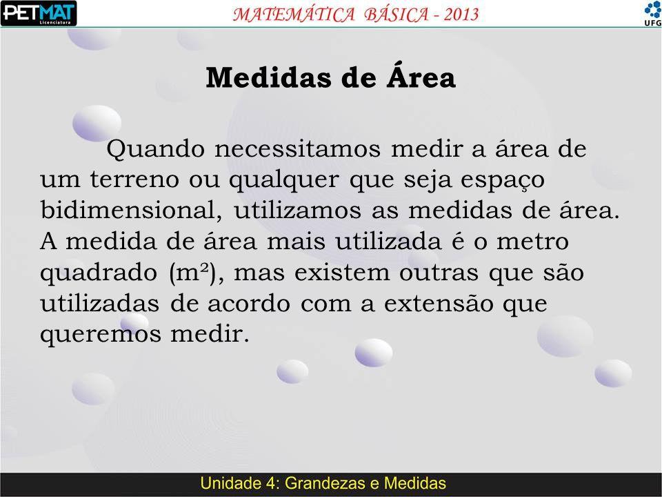 Medidas de Área Quando necessitamos medir a área de um terreno ou qualquer que seja espaço bidimensional, utilizamos as medidas de área. A medida de á