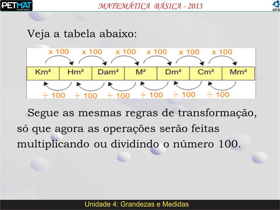 Veja a tabela abaixo: Segue as mesmas regras de transformação, só que agora as operações serão feitas multiplicando ou dividindo o número 100.