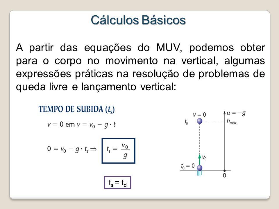 Cálculos Básicos A partir das equações do MUV, podemos obter para o corpo no movimento na vertical, algumas expressões práticas na resolução de proble