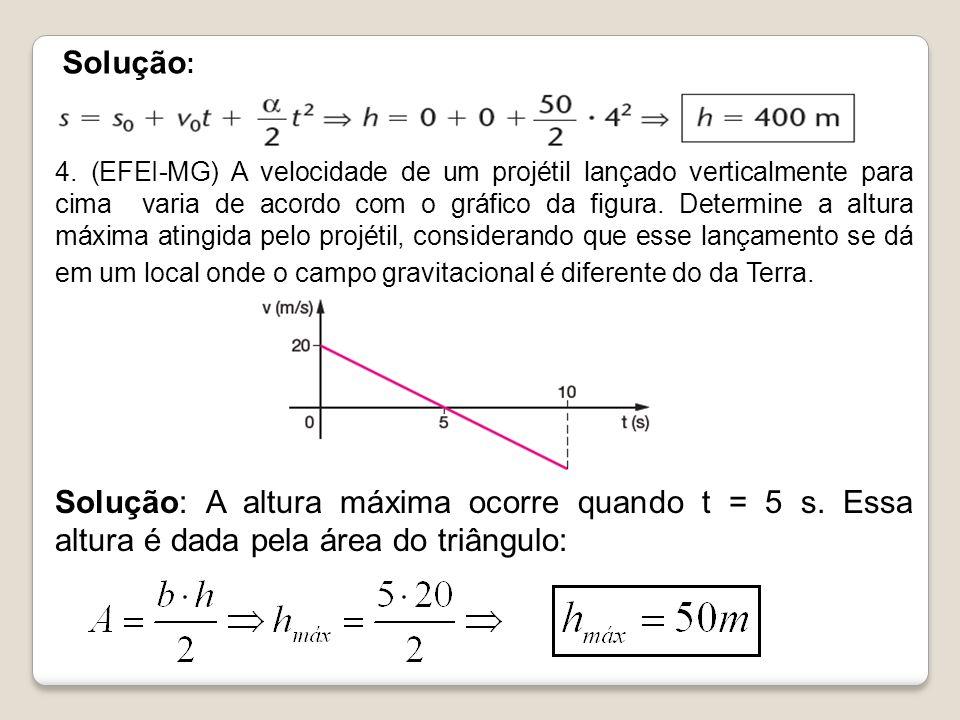Solução : 4. (EFEI-MG) A velocidade de um projétil lançado verticalmente para cima varia de acordo com o gráfico da figura. Determine a altura máxima