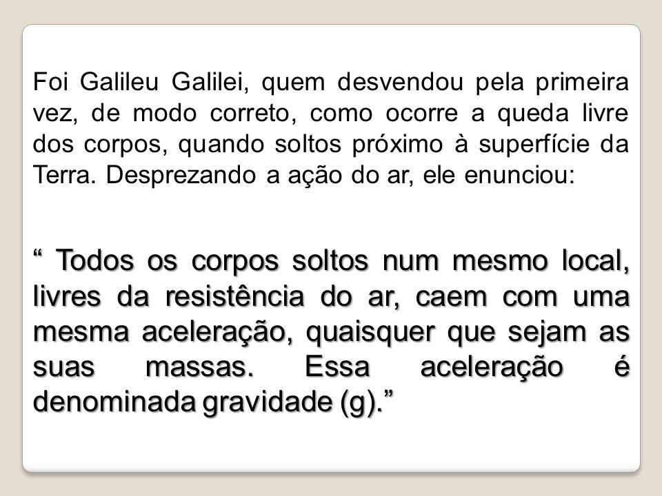 Foi Galileu Galilei, quem desvendou pela primeira vez, de modo correto, como ocorre a queda livre dos corpos, quando soltos próximo à superfície da Te
