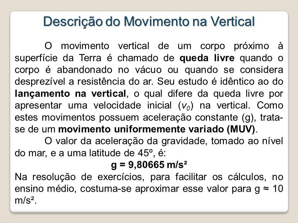 Descrição do Movimento na Vertical O movimento vertical de um corpo próximo à superfície da Terra é chamado de queda livre quando o corpo é abandonado